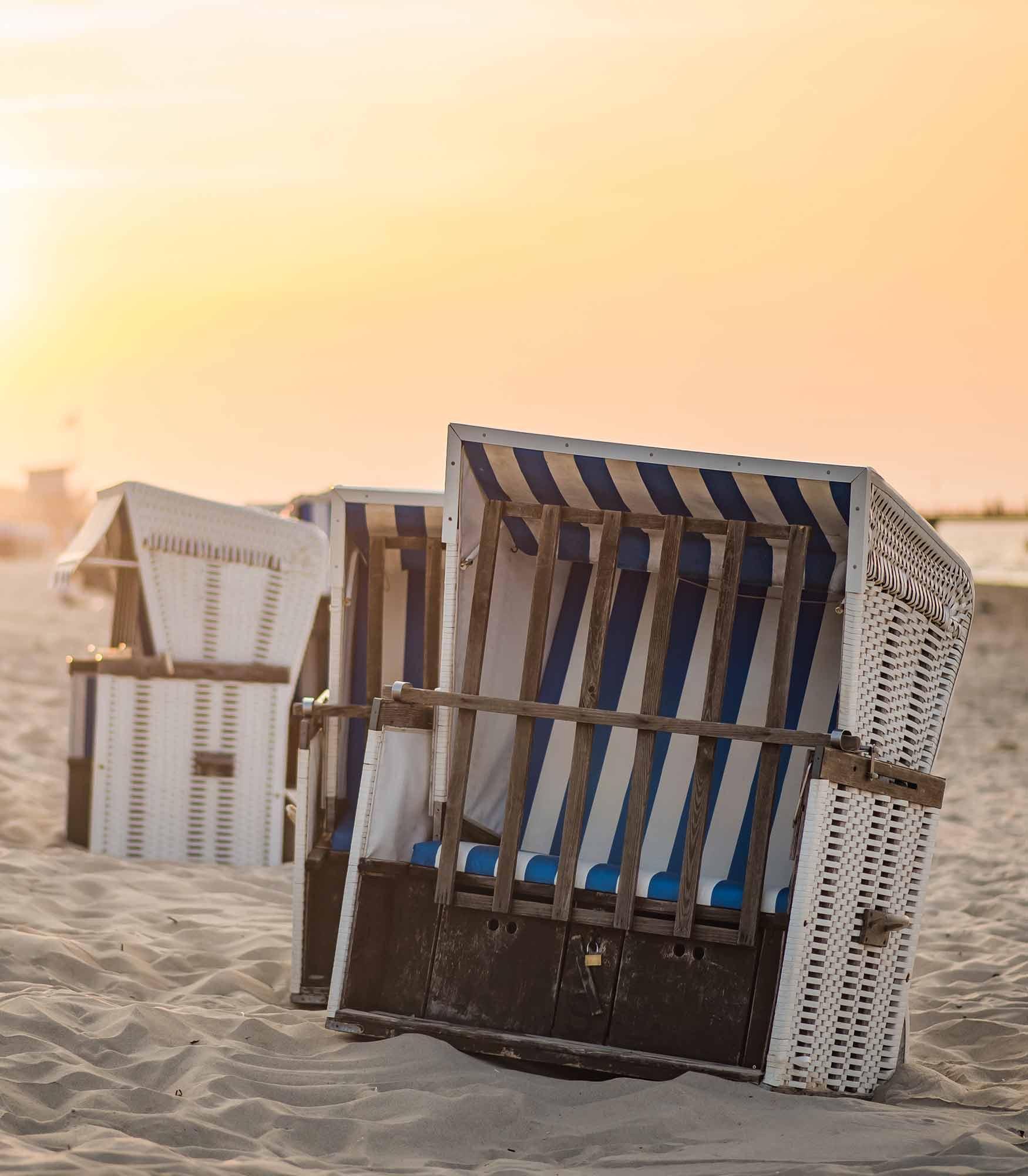 Strandkorb Sonnenuntergang Insel Usedom